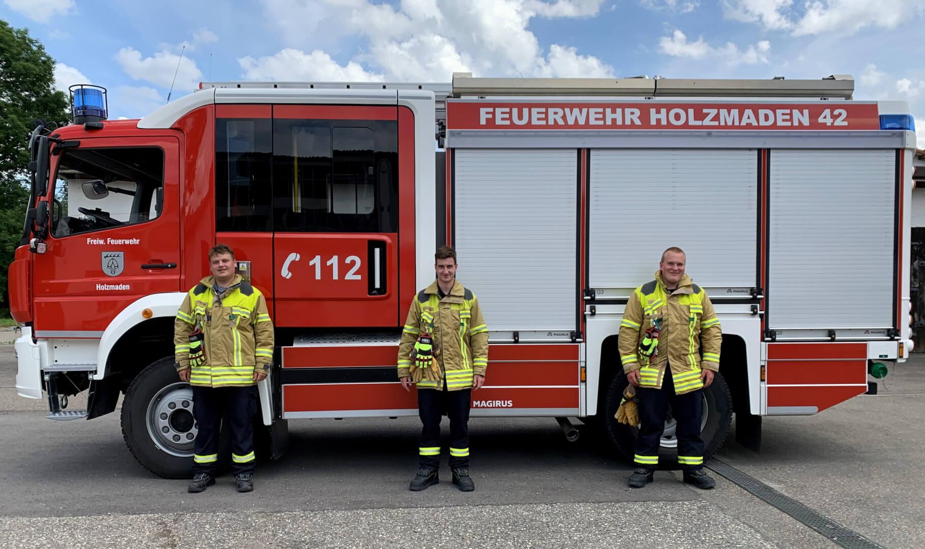Yannik Kling, Fabian Bezler und Finn Noss (v.l.n.r.) verstärken künftig die Einsatzabteilung.